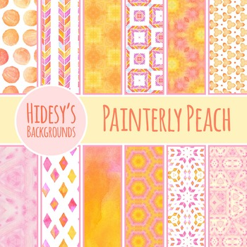 Watercolor Painting Peach / Pink / Orange Backgrounds / Digital Papers Clip Art