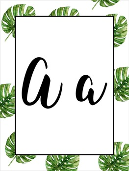 Watercolor Palm Leaf Decor Alphabet - Print & Cursive
