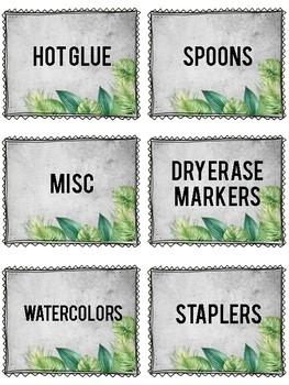Watercolor Palm Leaf Decor Class Materials & Bin Labels: PRE-MADE & EDITABLE