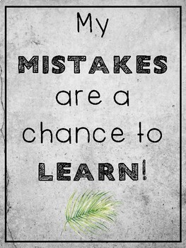 Watercolor Palm Leaf Decor Growth Mindset Posters