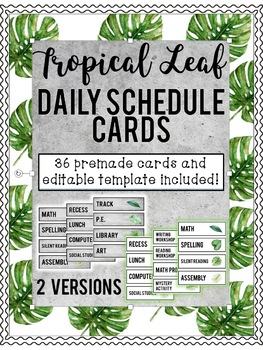 Watercolor Palm Leaf Decor Schedule Icons:  PRE-MADE & EDITABLE included