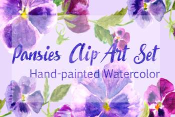 Watercolor Pansies Cip Art Set - Bonus Wreath and Border