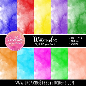 Watercolor Paper Pack, Rainbow Colors
