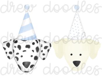 Watercolor Party Dog Heads Digital Clip Art Set