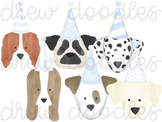Watercolor Party Dog Heads Digital Clip Art Set