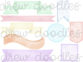 Watercolor Pastel Banners Digital Clip Art Set