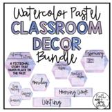 Watercolor Pastel Classroom Decor Bundle