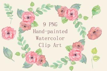 Watercolor Pastel Floral Clip Art