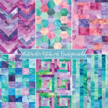 Watercolor Patchwork Backgrounds