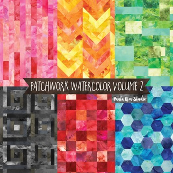 Watercolor Patchwork Digital Paper Pack, Volume 2