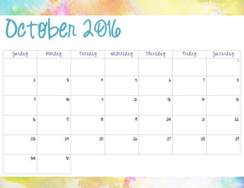 Watercolor Pattern #1 - Monthly Calendars (2016-2017)
