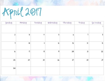 Watercolor Pattern #2 - Monthly Calendars (2016-2017)