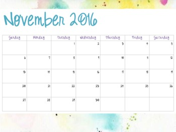 Watercolor Pattern #3 - Monthly Calendars (2016-2017)