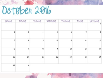 Watercolor Pattern #4 - Monthly Calendars (2016-2017)