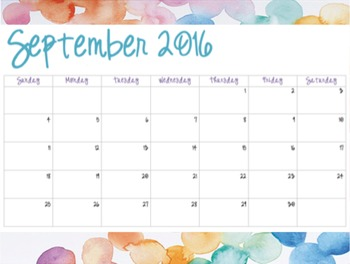 Watercolor Pattern #5 - Monthly Calendars (2016-2017)