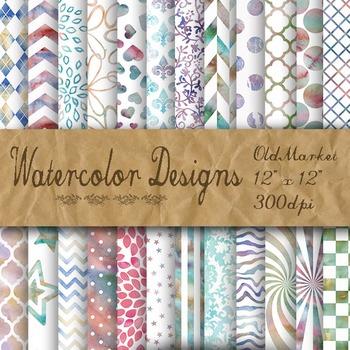 Watercolor Pattern Designs - Digital Paper Pack - 24 Diffe