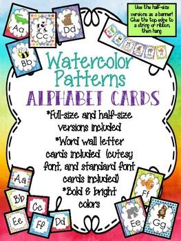 Watercolor Patterns Alphabet Cards