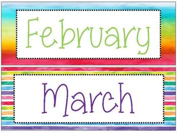 Watercolor Patterns Calendar