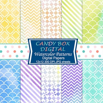 Watercolor Patterns Digital Background Papers