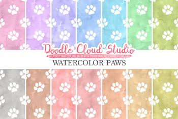 Watercolor Paws digital paper, Paw Prints pattern, Digital Paws.