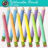 Watercolor Pencil Clip Art {Rainbow Back to School Supplie