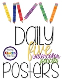 Watercolor Pencil Daily 5 Posters - Minimal Design - w/ Rotation Group Numbers