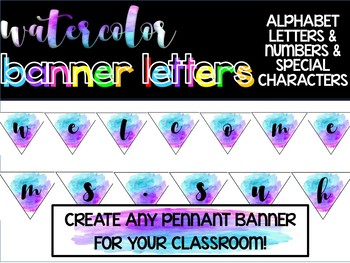 Watercolor Pennant Banner Set: Letters, Numbers & Special Characters