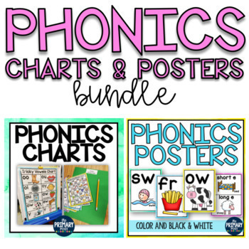 Watercolor Phonics Charts and Posters BUNDLE