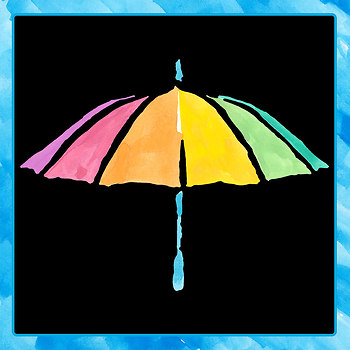 Watercolor Pictures - Rainbow Umbrellas Clip Art Set for Commercial Use