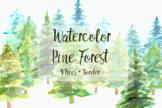 Watercolor Pine Trees Clip Art Set