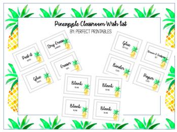 Watercolor Pineapple Classroom Wishlist - Editable