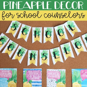 School Counseling Office Decor: Watercolor Pineapple Decor