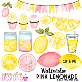 Watercolor Pink Lemonade Clip Art Sweet Summer Digital Set