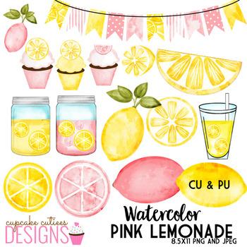 Watercolor Pink Lemonade Clip Art Sweet Summer Digital Set