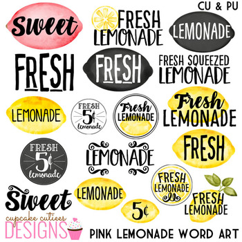Watercolor Pink Lemonade Clip Art Word Art Sweet Summer Digital Set