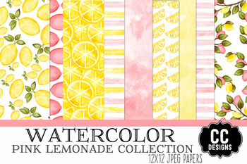 Watercolor Pink Lemonade Papers 12x12 Papers