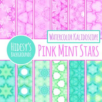 Watercolor Pink Mint Stars Digital Paper / Backgrounds / Clip Art Set