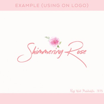 Watercolor Pink Rose Clip Art Set
