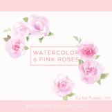 Watercolor Pink Rose Clip Art Set