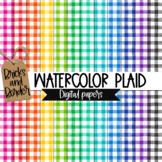 Watercolor Plaid Digital Papers Background Clip Art