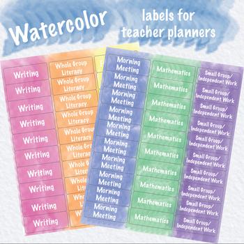 Watercolor Planner Labels for Happy Planner, Erin Condren, Teacher Planner, etc.