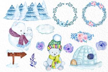 Watercolor Polar bear, Winter animals,Baby Bears, Cute ...