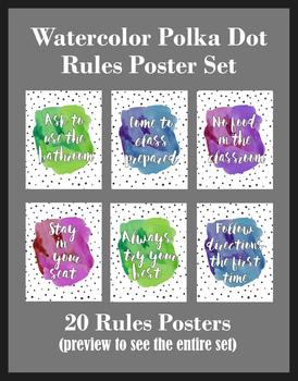 Watercolor Polka Dot Rules Poster Set (Cursive), 20 posters, 8.5x11 inches, JPEG