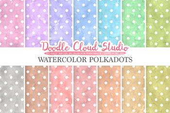 Watercolor Polkadot digital paper, Polkadot patterns, pastel watercolour