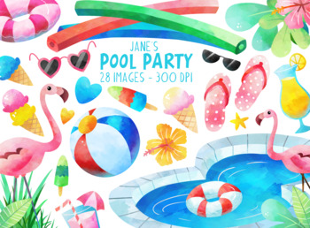 Watercolor Pool Party Clipart By Digitalartsi Teachers