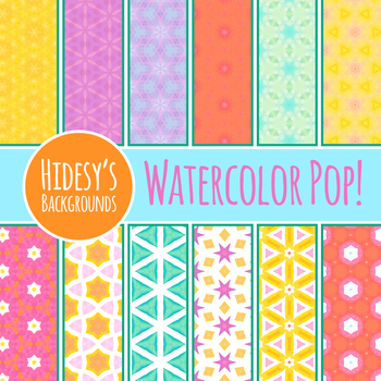 Watercolor Pop Digital Papers / Backgrounds / Patterns Clip Art Commercial Use