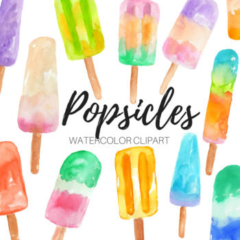 Watercolor Popsicle Clipart Set