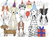 Watercolor Primary Party Dogs Digital Clip Art Set