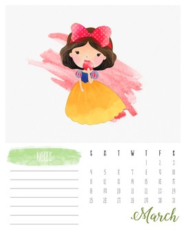 Watercolor Princess 2018 Calendar