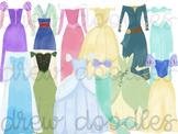 Watercolor Princess Dresses pt 1 and pt 2 COMBO Digital Cl